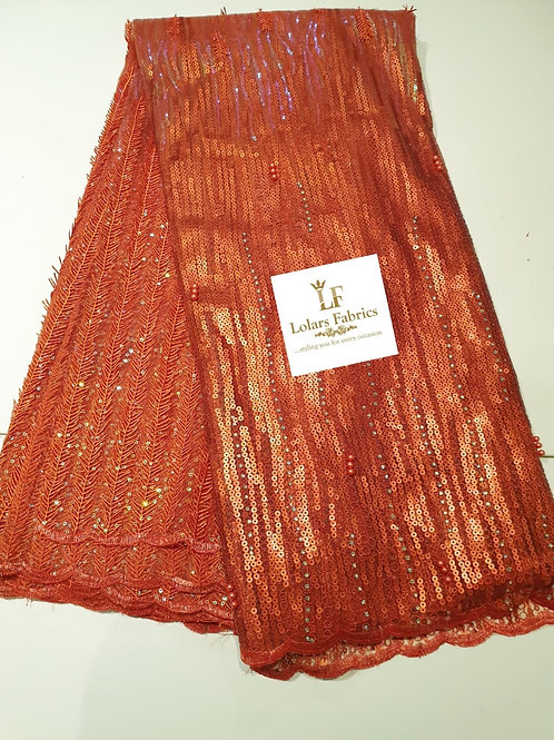 Bonnie Burnt Orange sequinned lace