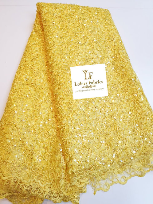 Mesmeric Yellow Payette Sequinned Lace