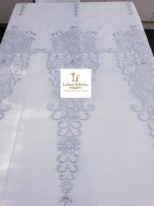 Raliat White and Silver Brocade Fabric