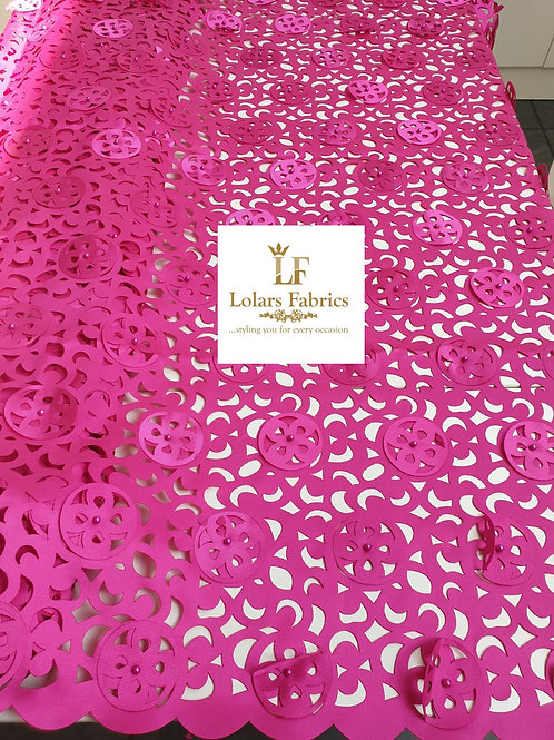 Grand Magenta Pink 3d Laser Cut Lace