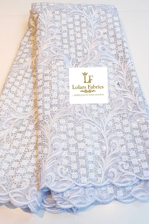 Solabomi Luxury White Embroidered Sequinned lace fabric