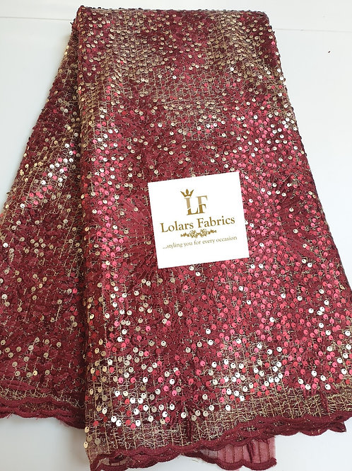 Foxy Burgundy and Gold Payette Sequins Lace
