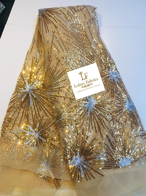 Star Lights Gold and silver Tulle lace