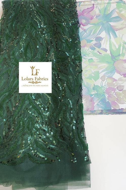 Adetomi Luxury Green Iridescent sequinned & beaded lace with 3D Grand Sego gele
