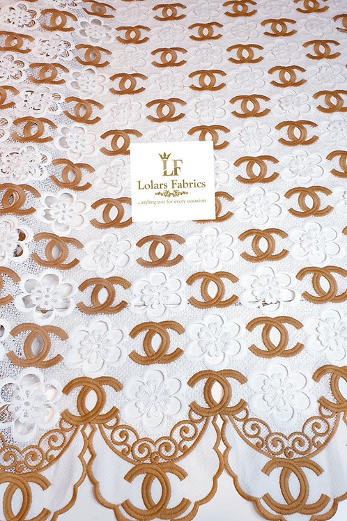 Jamila Brown and White soft cotton guipure