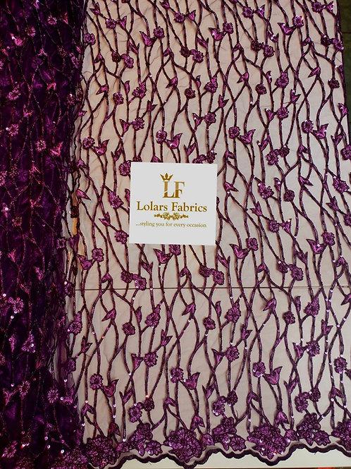 Lush Plum purple sequinned luxury lace