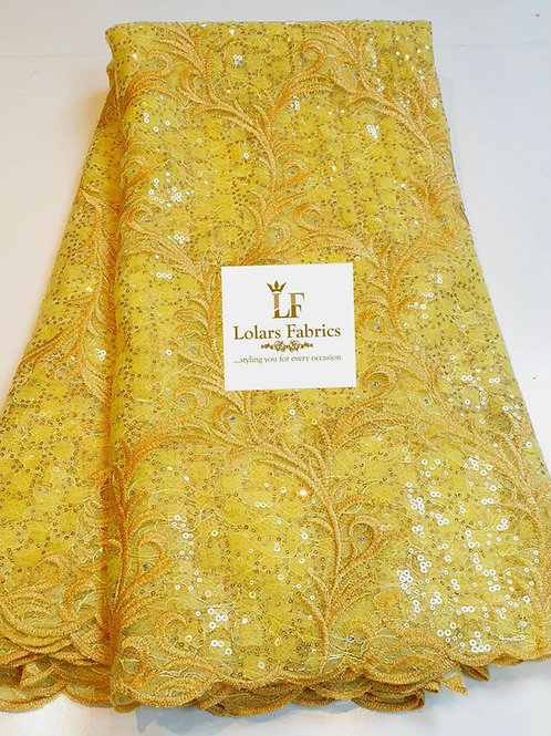 Solabomi Luxury Yellow Embroidered Sequinned lace fabric