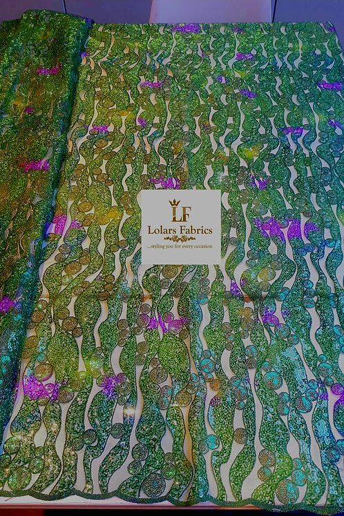 Venus in Green with touch of pink sequinned lace fabric