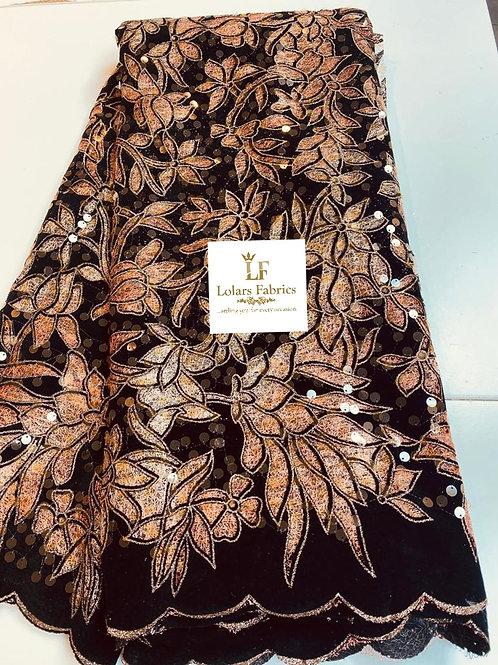 Temitope Gold tones Handcut velvet flocking lace fabric