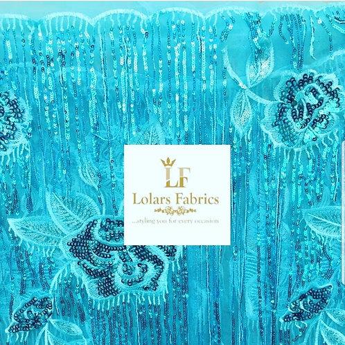 Baby Blue Shine Tassels Lace