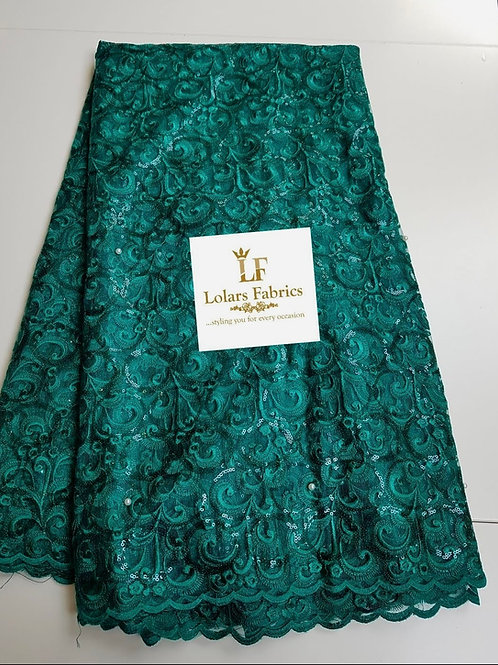 Adebola green sequinned embroidery lace