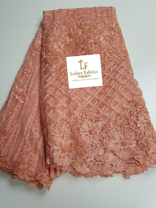 Luxury Hand Beaded Peach Tulle Lace