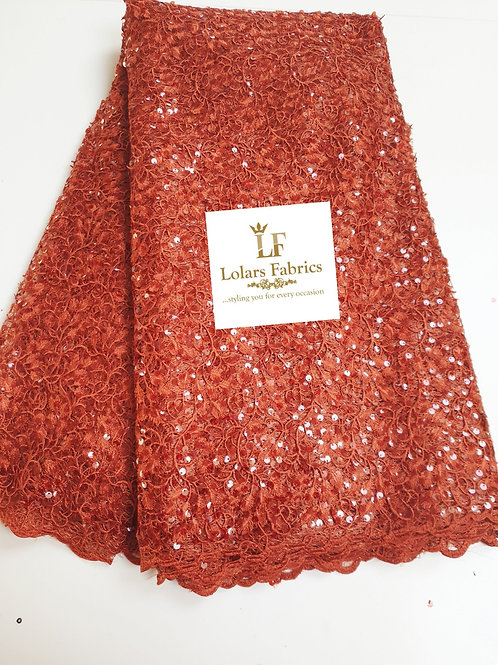 Mesmeric Burnt Orange Sequinned Lace