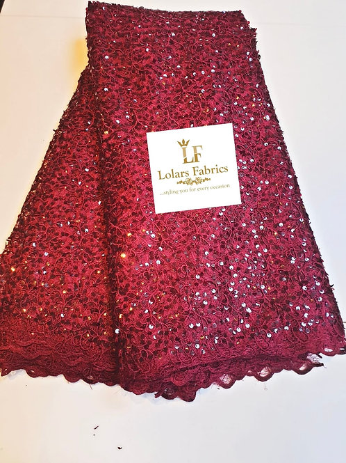 Mesmeric burgundy sequinned lace