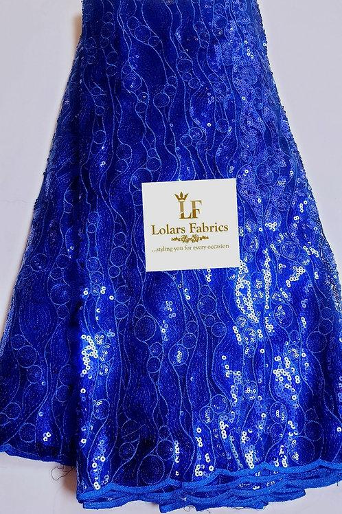 Venus in Cobalt Blue sequinned lace fabric