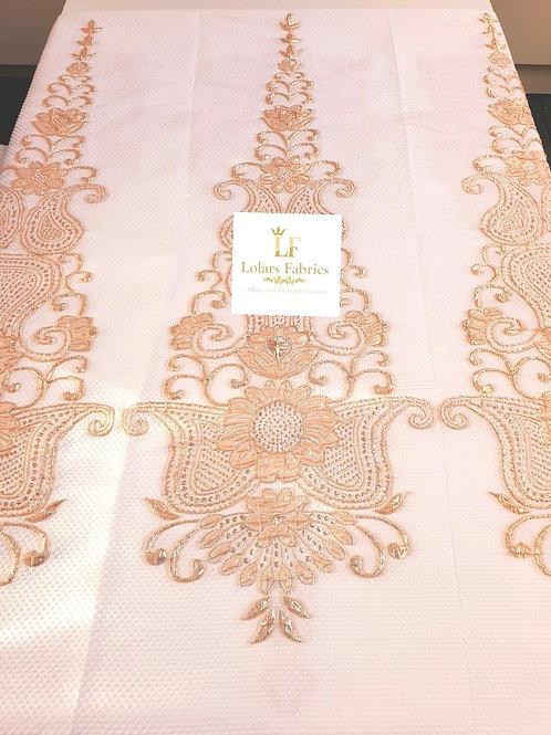 Raliat White and Gold Brocade Fabric
