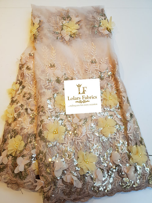 All Chiffon Petals Gold Lace