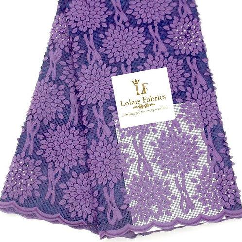 Pretty Lilac on Blue budding Lace