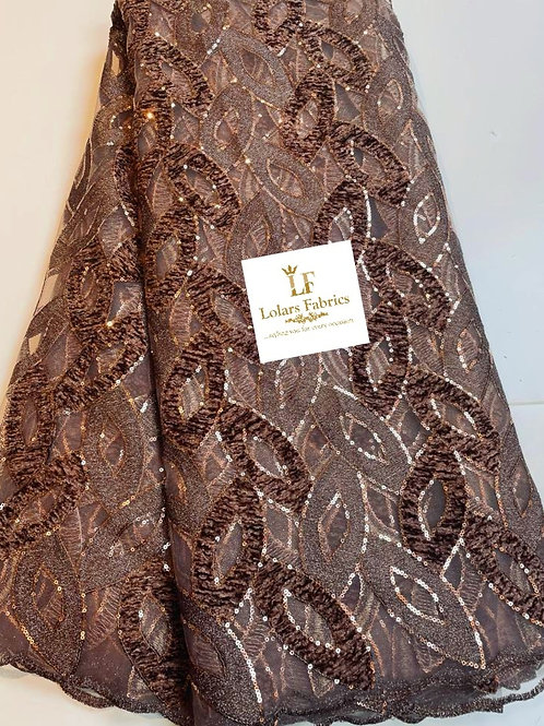 The Niffy Chocolate Brown Sequinned & Velvet lace fabric