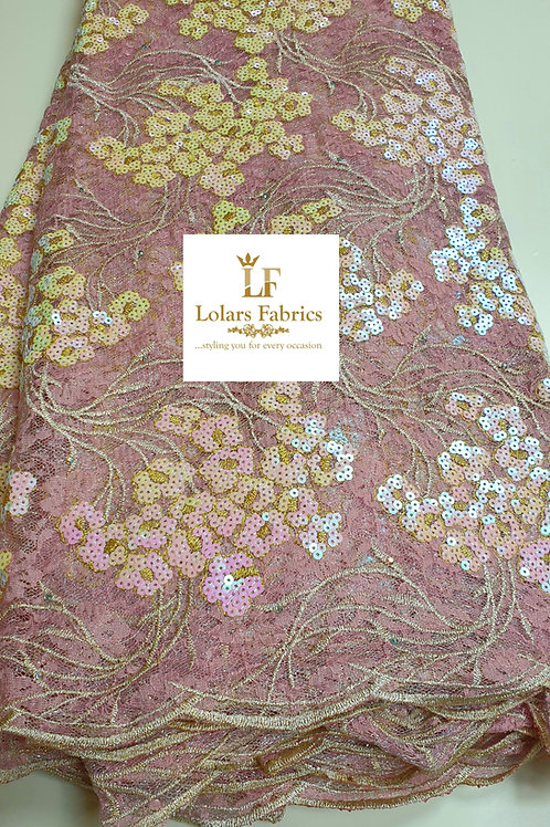 Luxury Yettie in Pink Chantilly and Sequinned lace fabric