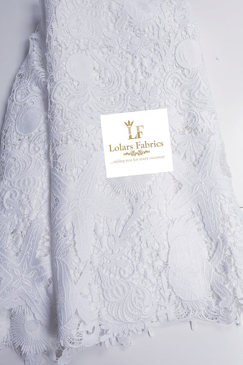 Bolanle White Sea Shells Cord guipure lace