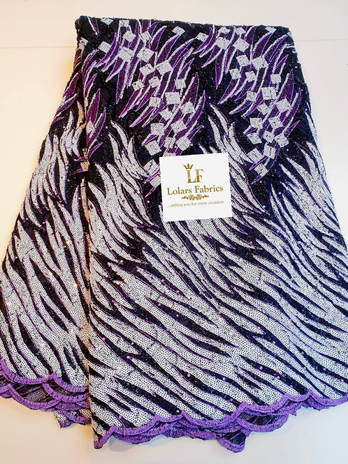 Nusi Luxury purple and black chantilly on white sequins lace fabric