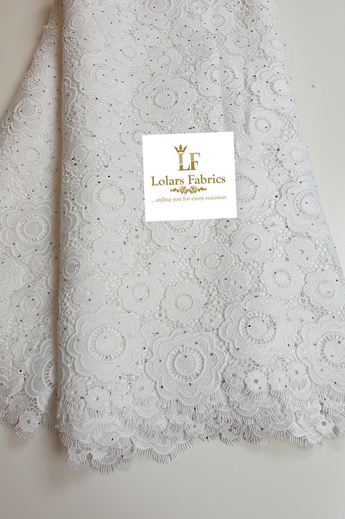 Modunni White Stoned luxury guipure lace fabric