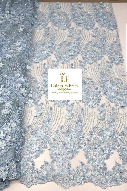 Luxury 3d Glamorous Powder Blue Lace