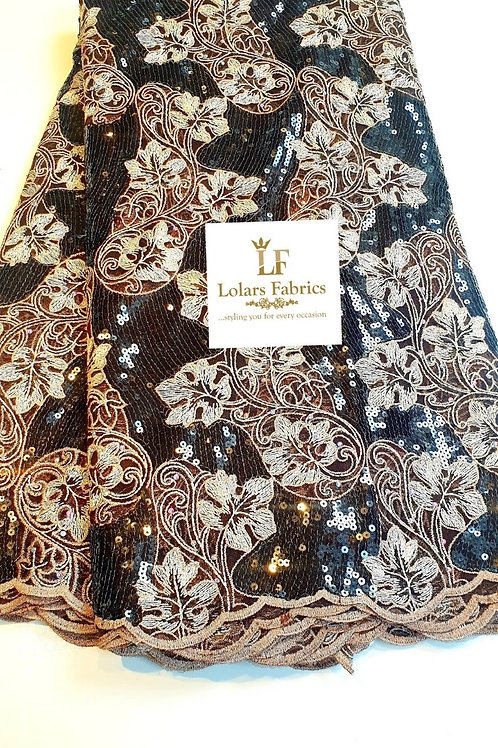 Gbemisola  Luxury Brown and beige sequinned lace