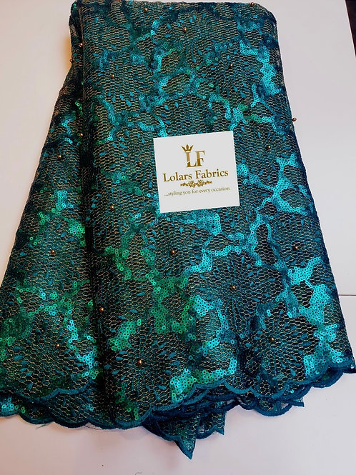 Jola teal green sequins and bead lace