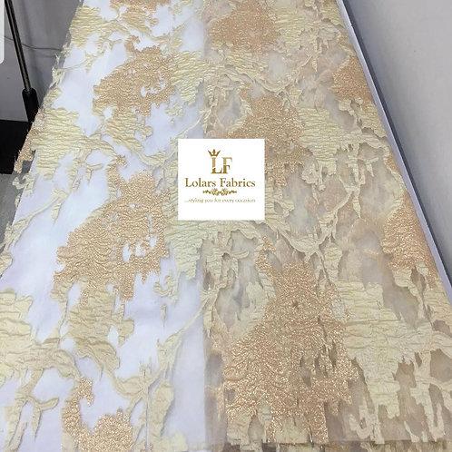 Malia Gold damask brocade lace