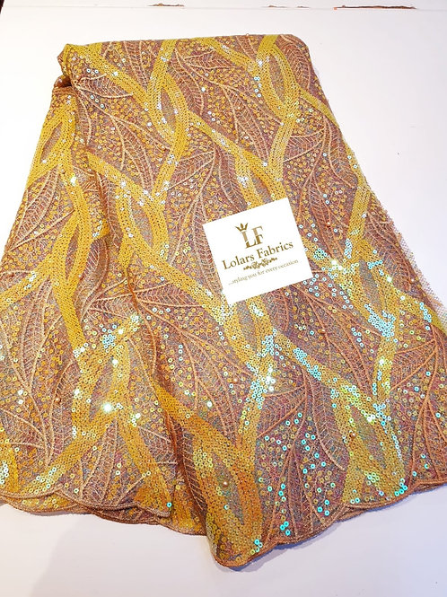 Chic yellow and multicoloured sequins lace