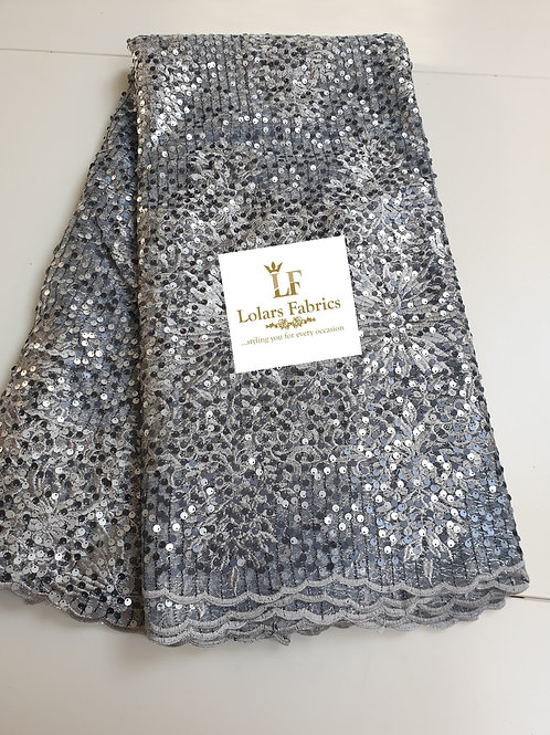 Foxy Gun Metal and Silver Payette Sequinned Lace