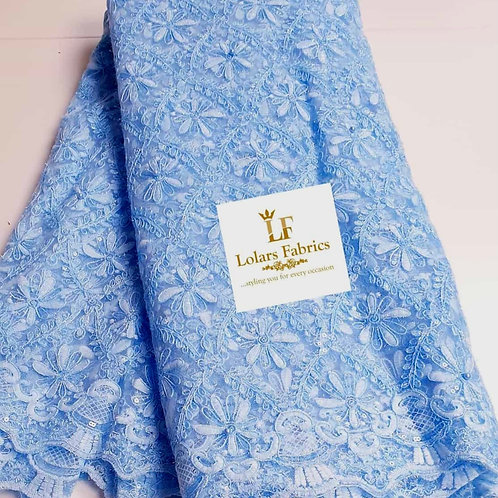 Dara lush baby blue beaded lace fabric