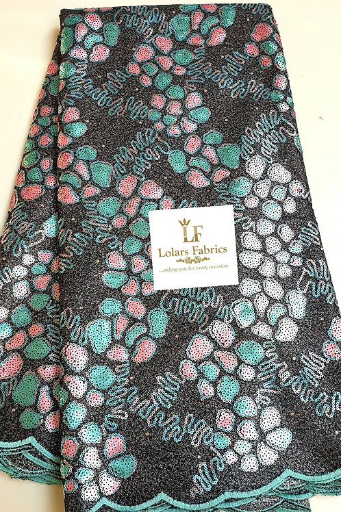 The Simi in Black with teal and pink sequins lace fabric