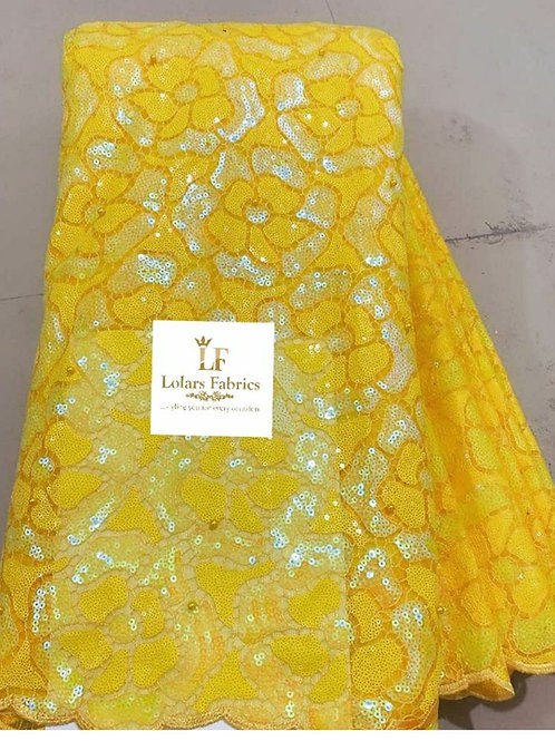Arike Yellow Sequinned tulle lace