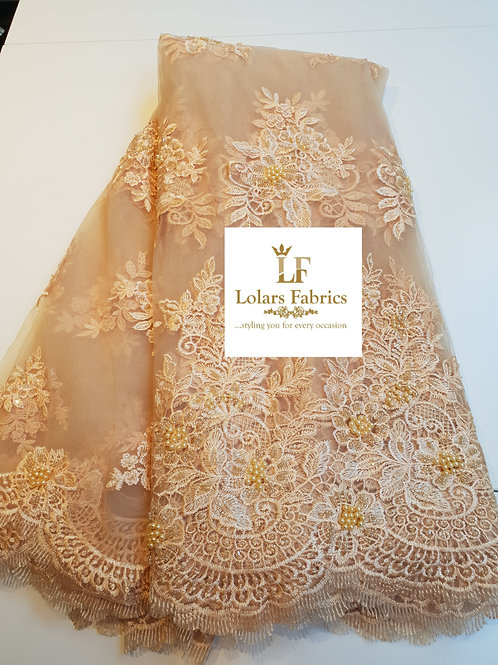 Gold Flower Embroidered Beaded Lace