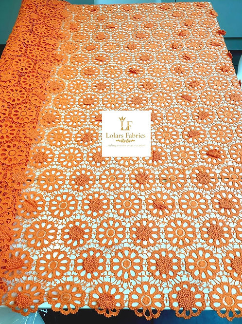 Lashe Orange 3d guipure lace