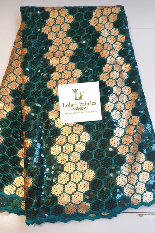 Green and gold honeycomb sequined lace
