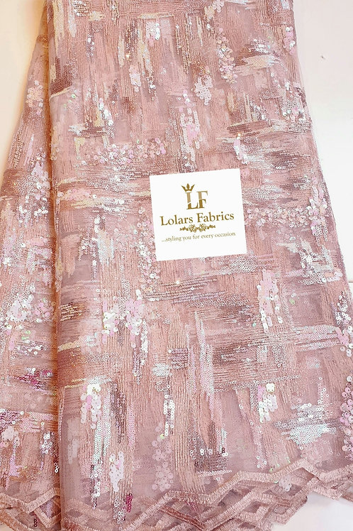 Fara Onion Pink Soft Sequinned tulle lace