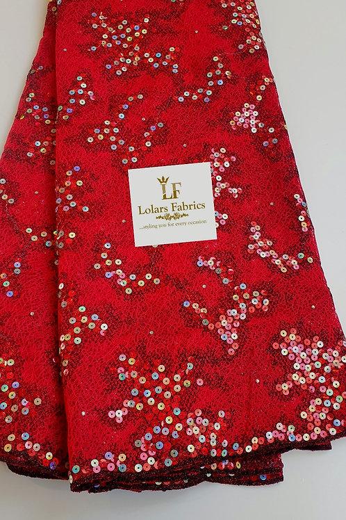 Luxury Aurelia Red Sequinned Lace Fabric
