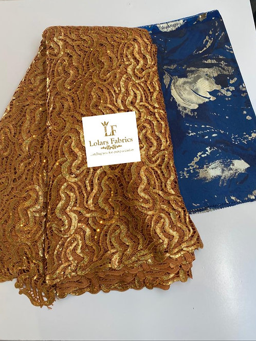 Christys luxury Gold mirror sequins guipure lace with Grand 3D Sego gele