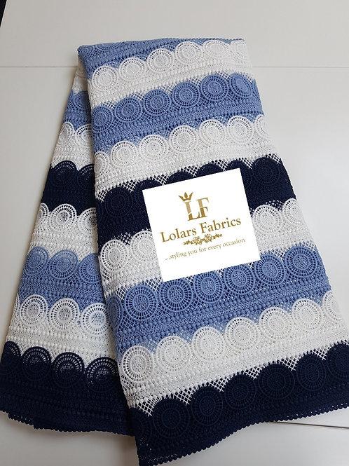 Stylish Soft Shades of Blue Guipure Lace