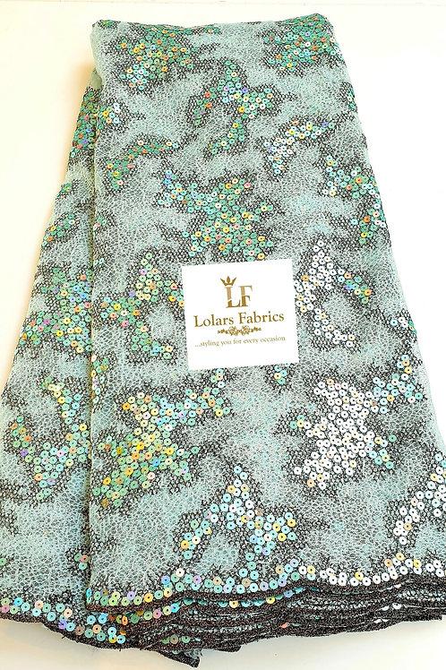 Luxury Aurelia Mint Green Sequinned lace fabric