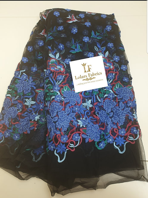 Fascinating Blue multi print 3d soft tulle lace