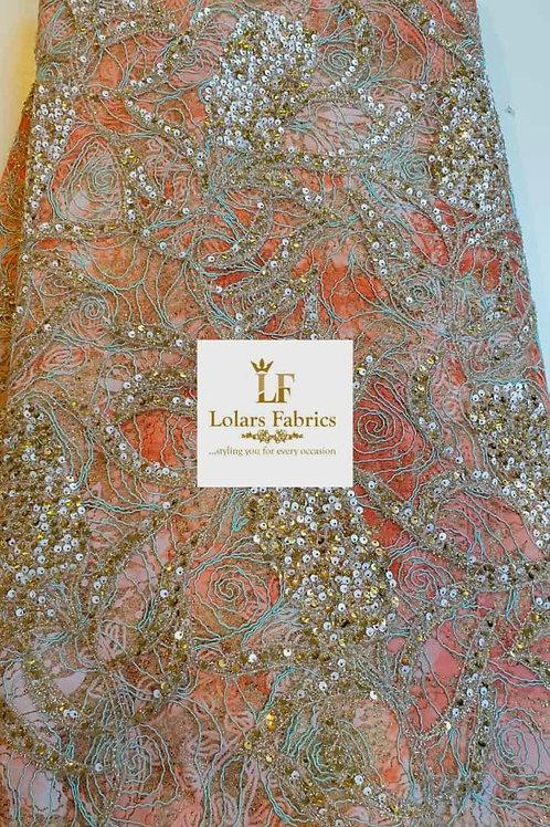 Kandy Stunning Luxury Orange and Gold Velvet flocking and sequins lace fabric