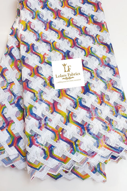 Rolayo White multicolored sequinned lace fabric