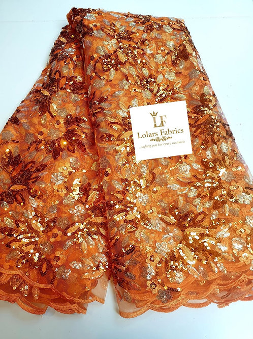 Sun splash orange sequinned tulle lace