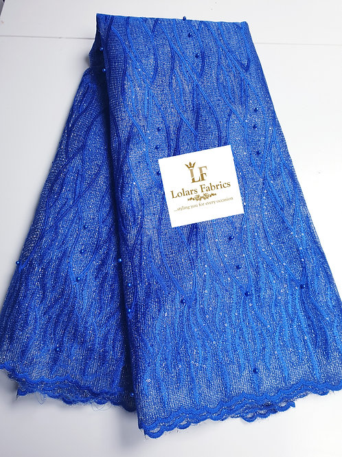 Jasmine Royal Blue and Silver Beaded Lace