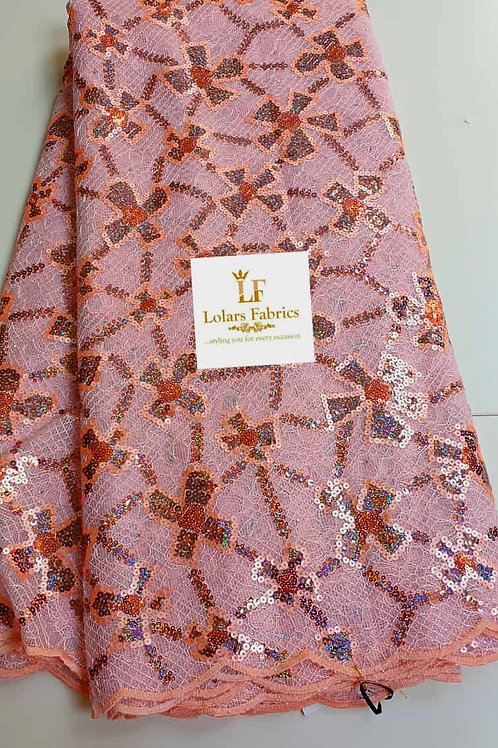 Oyinkan Luxury Peach Perfect sequins on chantilly Lace fabric